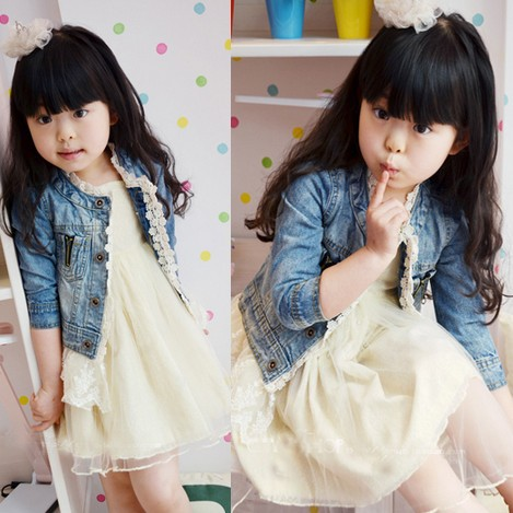 Girls Jean Jackets Kids Lace Coat Long Sleeve Button Denim Jackets For Girls 2-7Y 4