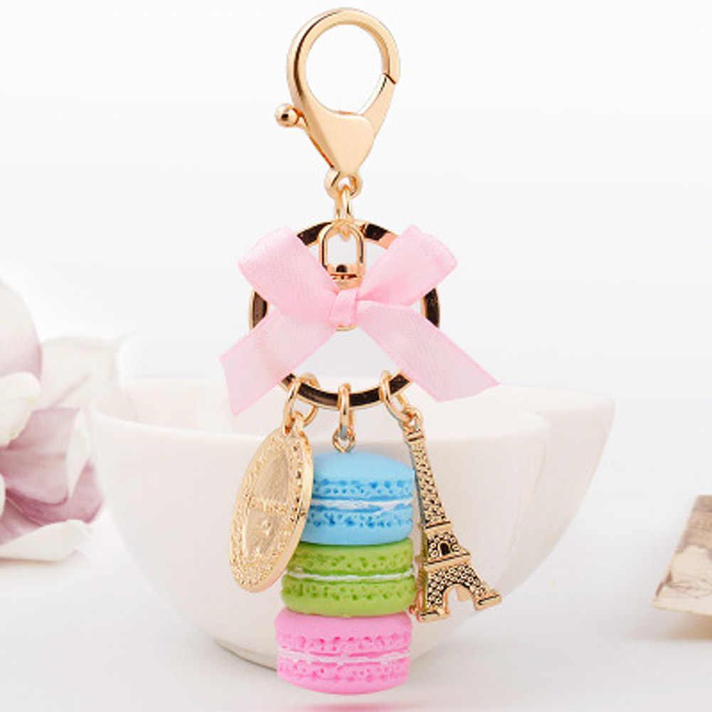 Venda quente Charme France Laduree Macarons Effiel Torre Amante Keychain Chaveamento Presentes de Natal Para A Menina