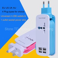 Universal 4 USB Charger EU/US/UK/AU Plug AC Wall Station Travel Adapter for Mobile Phone/Smartphone/Cellphone/Xiaomi/iPhone/g4