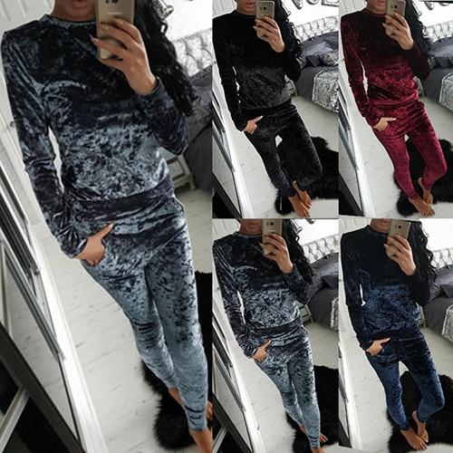 Women Crushed Velvet Long Sleeve Top + Long Pants Loungewear Tracksuit