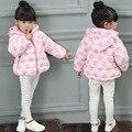 Новое Прибытие Зимняя Куртка для Девочек, Большой Горошек Печати Пальто Gilr Капюшоном Верхняя Одежда, Детская Одежда Девушки куртки Одежда
