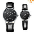 Eyki Genuine Leather Strap Couple Watches Tables Fashion Water Resistant Men Quartz Watch Inlaid Rhinestone Women Dress Clock