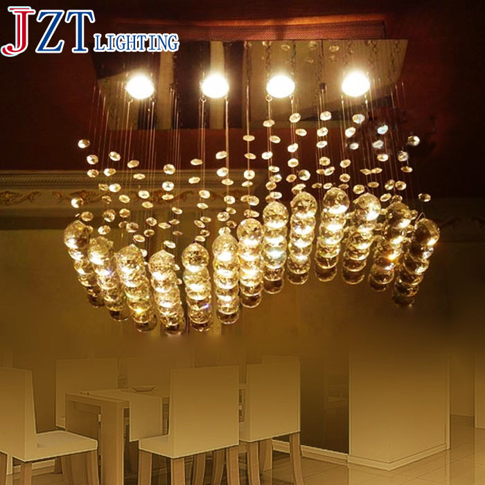 M Foyer Bedroom Living Dinning Crystal Ceiling Light Lamp Surface Mounted Oblong Rectangular Wave Crystal Ceiling Light Lamp