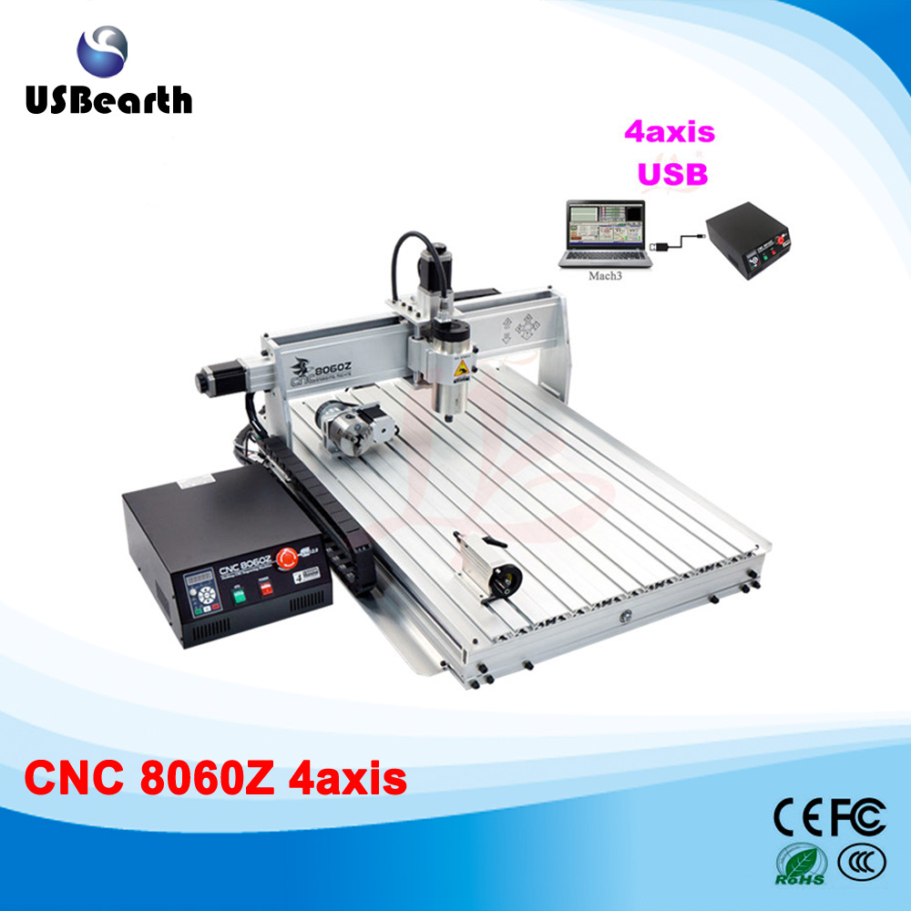 Free shipping Latest LY 8060Z 1.5KW 4 axis mini cnc router milling machine for woodworking hobby eur free tax cnc 6040z frame of engraving and milling machine for diy cnc router