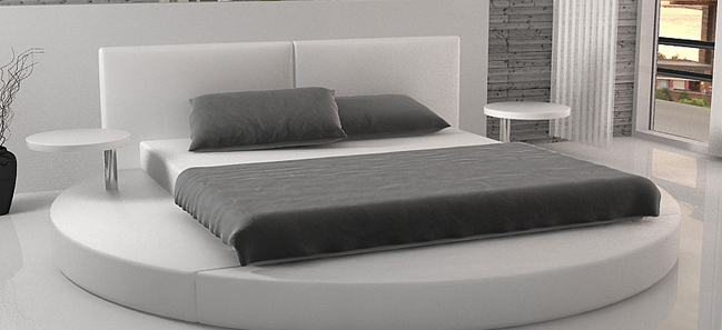 Leather Bed Double Size Modern