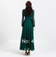 sd83 темно-зеленый цвет новый шелк Chef line макси платье с длинным рукавом полный подкладка д платье большой размер прямая поставка поддержка