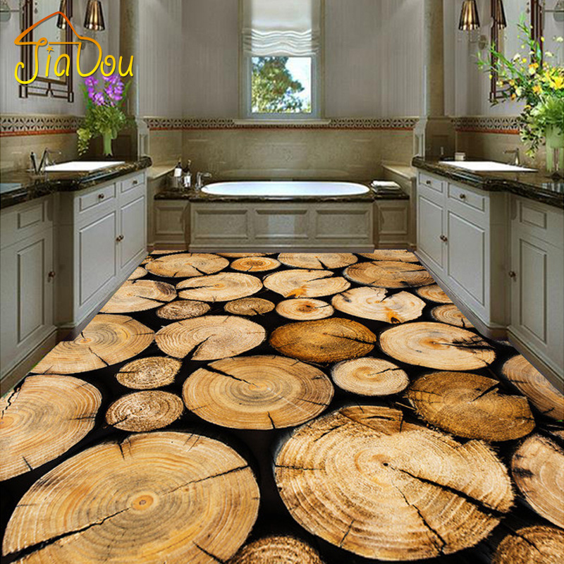 Custom Mural Wallpaper 3D PVC Self-adhesive Floor Murals Bedroom Living Room Kitchen Floor Backdrop Vinyl Wallpaper Trees Wood  custom 3d floor painting wallpaper stone steps sunshine pvc self adhesive living room bedroom bathroom floor sticker wall mural