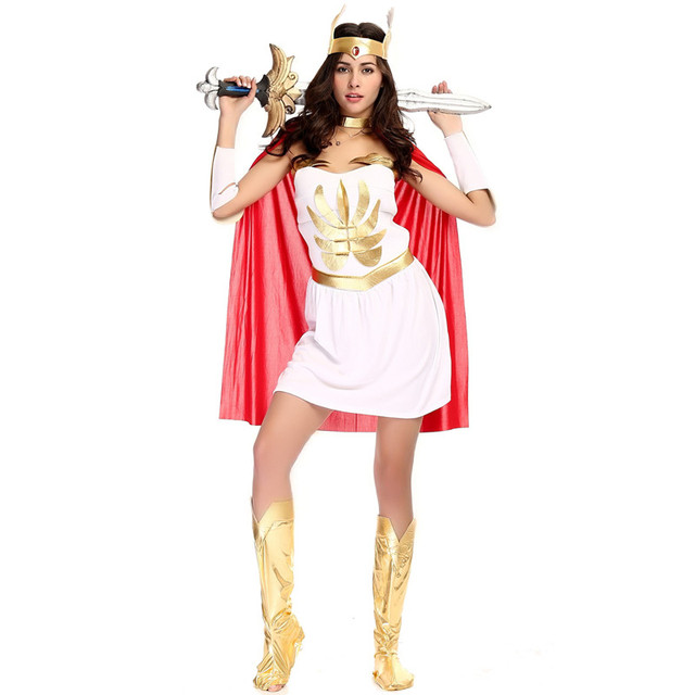 Woman Goddess Athena Role play Halloween She-Ra Costume Female warrior Queen Cosplay Purim Carnival  sc 1 st  AliExpress.com & Woman Goddess Athena Role play Halloween She Ra Costume Female ...