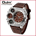 Multiple Time Zone Quartz Watches Men Watches Oulm Brand Watch Hot Man Watch Analog New with tags Brass Fashion Casual Style