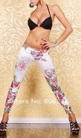 винтаж панк белый граффити ложные джинсы узкие джинсы b014