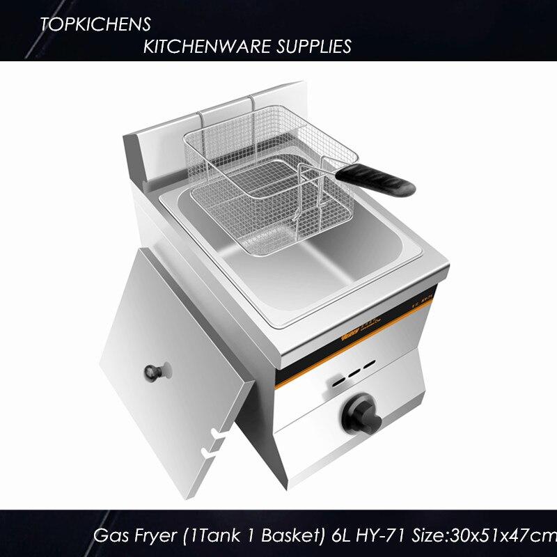 Commercial Gas fryer(1 tank 1 basket)HY71 Desktop salter air fryer home high capacity multifunction no smoke chicken wings fries machine intelligent electric fryer