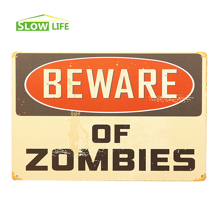 Beware Of Zombies Vintage Home Decor Tin Sign 8\