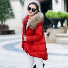 2016 Winter Coat Dress Large Fur Collar Women's Coat Irregular Loose Feather Down Cotton Coat