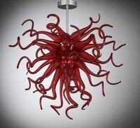 נברשת פרח אדום זכוכית מוראנו פוצץ יד לסלון-בנברשות מתוך פנסים ותאורה באתר