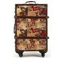 14 20 24 pulgadas maleta Rígida PU cuero + Madera 4 Ruedas de Un conjunto de Viaje Trolley de Equipaje de Cabina de Pintura Retro chasis bordo caja de seguridad