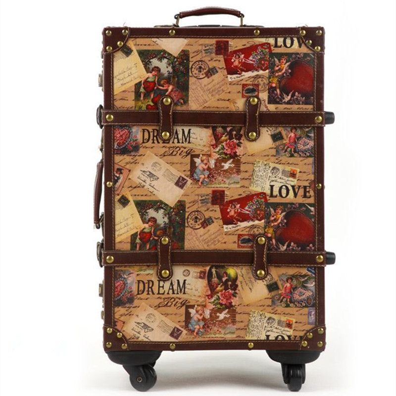 14 20 24inch suitcase HardShell PU leather+Wood 4 Wheels A set Travel Trolley Painting Cabin Luggage Retro board chassis lockbox vintage suitcase 20 26 pu leather travel suitcase scratch resistant rolling luggage bags suitcase with tsa lock