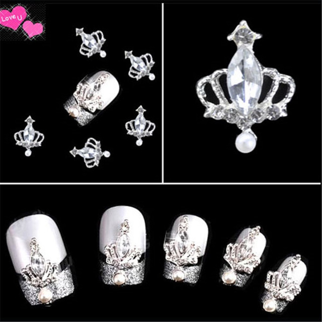 20pcs 3D Alloy  Faux Pearl Crown Rhinestones Nail Art DIY Decoration Glitters Slices Free Shipping