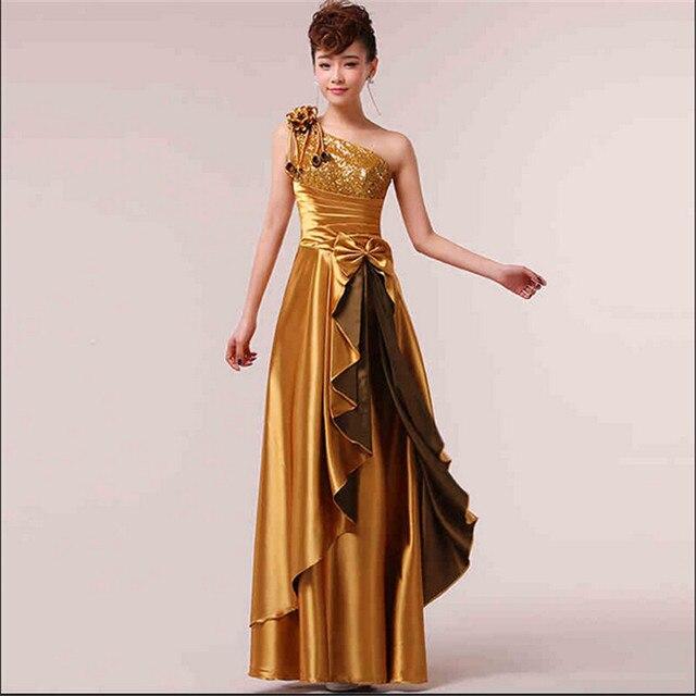 1f0062599d Female Host dress Latest High-grade Beautiful Long dress Gold color One  shoulder type Elegant