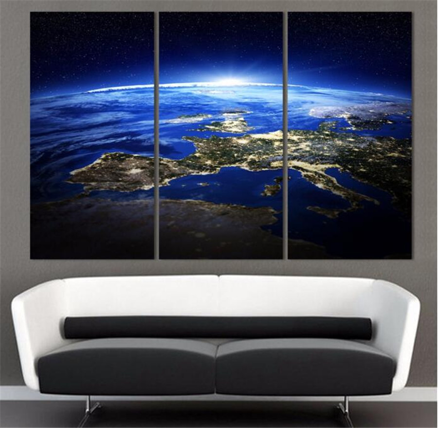 2017 Promotion Direct Selling Oil 3 Panel Sunrise Space Universe Picture Wall Decor Canvas Art Home For Living Room No Frame