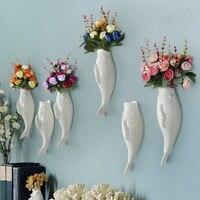Creative Brief Vases Fish Shaped White Wall Hanging Vases Wedding Decoration Flower Pot Vase Wall