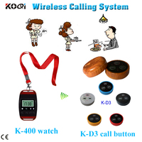 waiter paging system for coffee house restaurant call watch pager and sound button with 3-key call bill cancel
