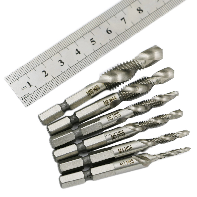 6pcs M3-M10 Composite Tap Drill Bit Thread Spiral Screw Tap 1/4 Hex HSS 4341