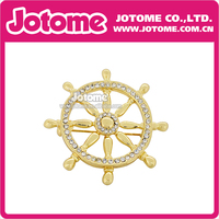 100pcs/lot 48mm/1.875inch Golden Ships Wheel Crystal Brooch Pin for Fashion Women/Men Brooch