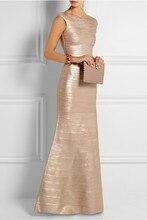 2016 top-qualität sleeveless reizvolle elegante gold winter kleid folienprägung luxus verband formales abend-formales kleid lange