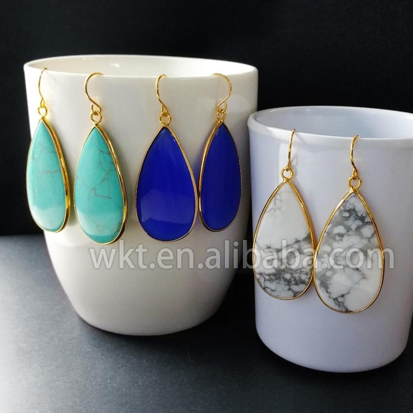 WT-E165 Engros modeøreringe natursten farverige smukke teardrop sten - Mode smykker
