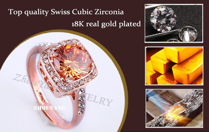 Top Quality ZYR057 Yellow Crystal Rose Gold Color Ring Jewelry Crystals From Austria Full Sizes Wholesale 17