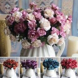 Austin bunch 15 cabeças primavera flores de seda artificial rosa casamento decoração floral planta arranjo flor decoração para casa