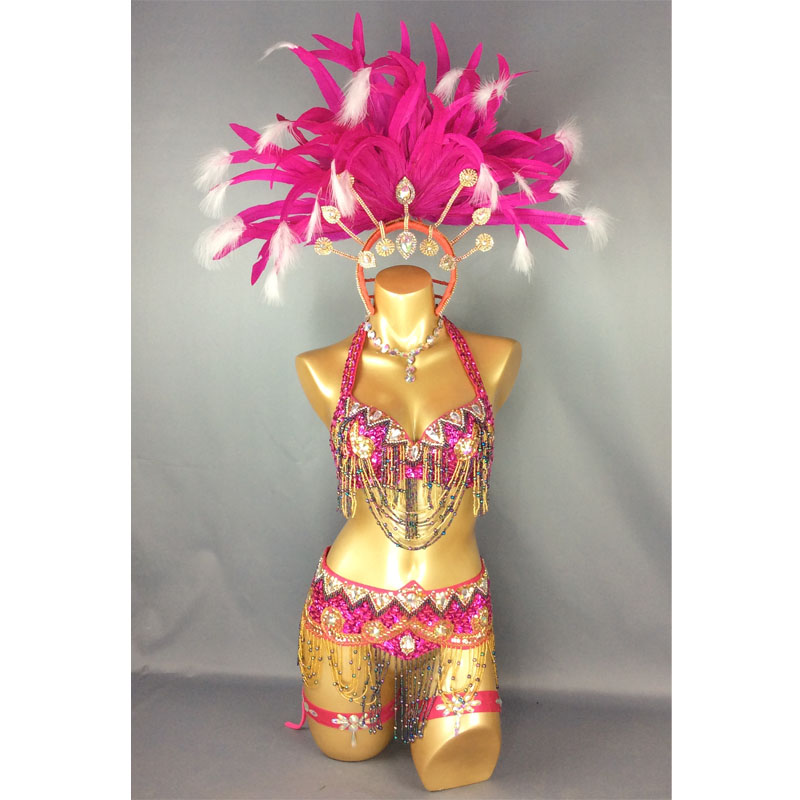 Free Shipping Hot Selling Sexy Samba Rio Carnival Costume New Belly Dance Costume With Hot Pink Feather Head Piece