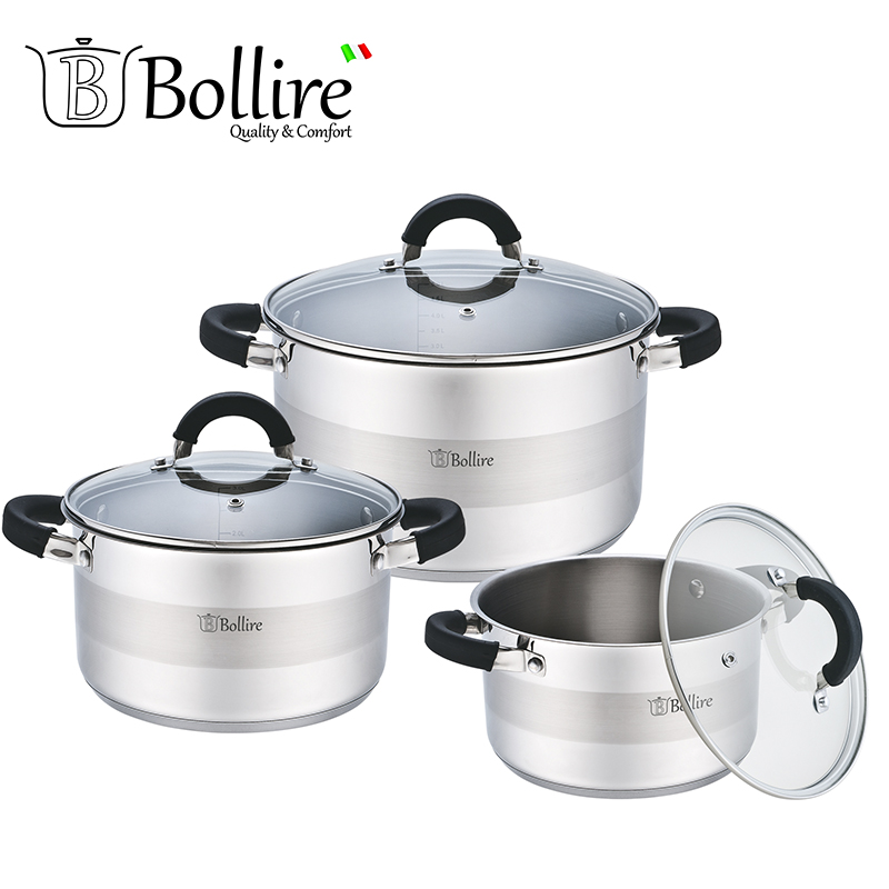 BR-4002 Set Casserole Bollire Top Pot Cooking Pots set cookware casserole saucepan frypan home cooking br 2101 ladle bollire 1 6l 16cm casserole of high quality stainless steel cast handles in stainless steel with silicone inserts