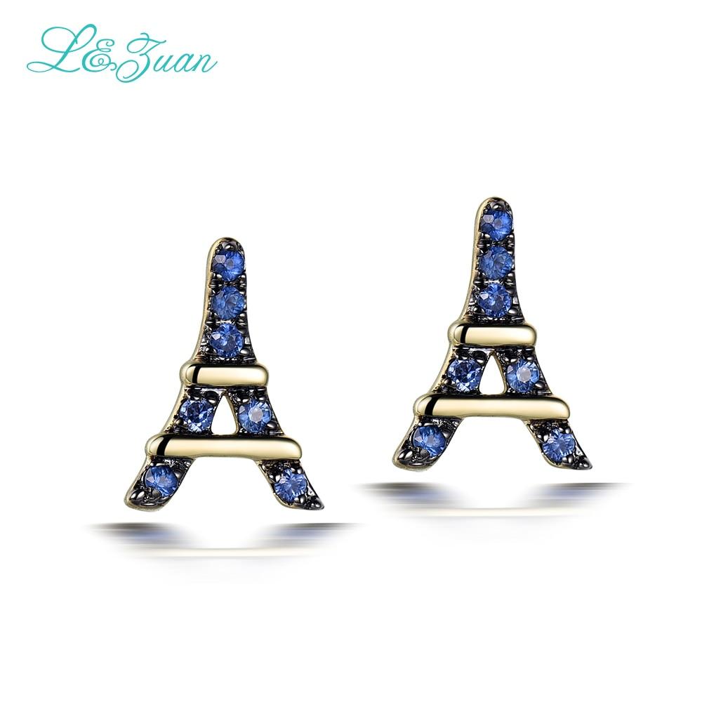 L&zuan Romantic Eiffel Tower Earrings 14k Yellow Gold 0008ct Sapphire Stud  Earrings Fine Jewelry Gift