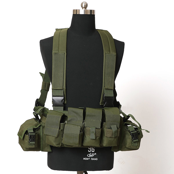 Chest Harness with mangazine Pouch OD Chest rig Gunner Kit Split Front Chest Rig