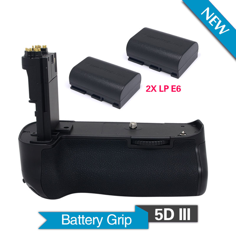 Meike MK-5DIII Vertical Battery Grip Holder with 2pcs LP-E6 Batteries for Canon 5D Mark III Camera 5D3 Replace as BG-E11 camera battery grip pixel bg e20 for canon eos 5d mark iv dslr cameras batteries e20 lp e6 lp e6n replacement for canon bg e20