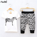 2017 Newest 2-7Y Kids Boys Girls Tracksuit Summer Set Brand Cotton Animal Print Zebra Striped Clothing Sets Sport Suit CF257