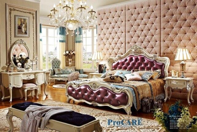 Luxe Paarse Slaapkamer : Luxe europese stijl massief houtsnijwerk slaapkamermeubilair set