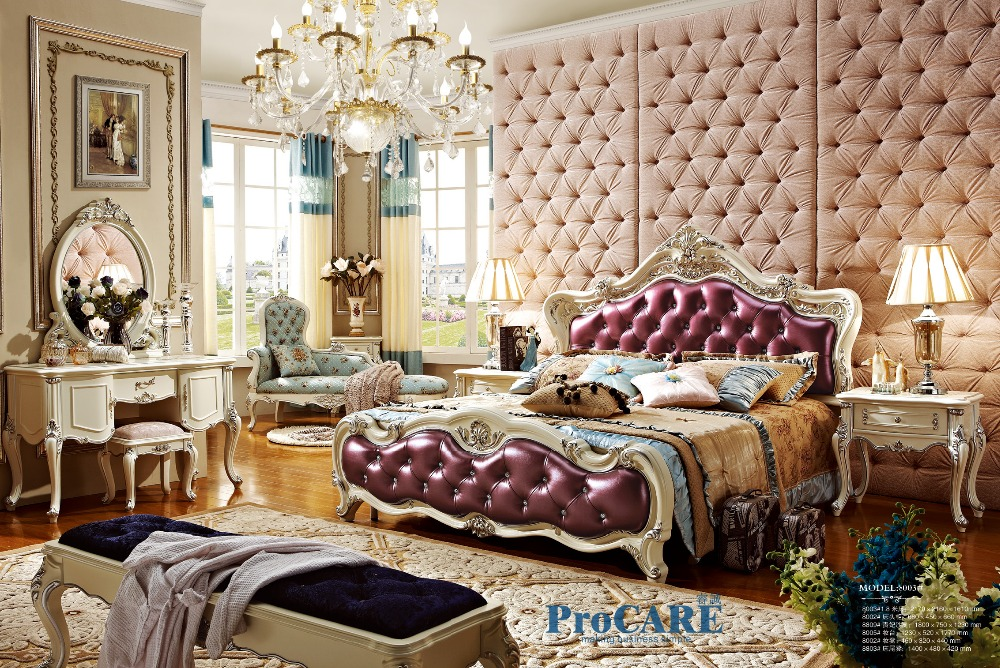 Luxury European Style Solid Wood Carving Bedroom Furniture Set With Purple Genuine Leather Bed Dresser Royal Chair 8003