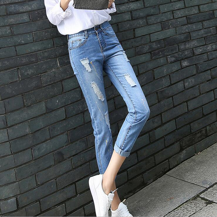 3205 2017 Skinny Denim jeans womens Ankle length Jeans with holes Fashion Ladies jeans Ripped