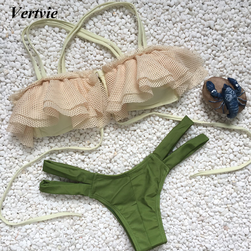 Vertvie Sexy Bikini Set Micro Split Braided Rope Bangdage Hollow Out Swimwear Green Solid Bottom Bathing Suit Summer Beach Party vertvie sexy solid bangdage bikini set green hollow out push up braided rope swimsuit women 2017 summer beach party bathing suit