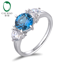 SOLID 14K WHITE GOLD NATURAL 3 30CT FLAWLESS BLUE TOPAZ ENGAGEMENT RING