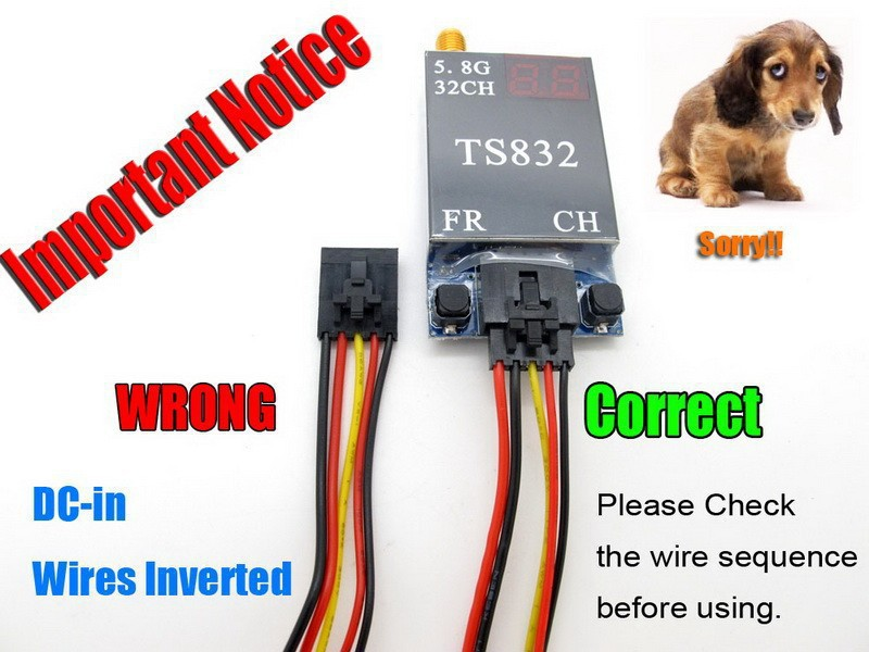 fpvok fpv ts832 5 8g 600mw 32 channel wireless audio video rh aliexpress com Power Cable Ground Wire Connectors