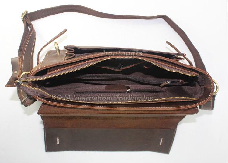 Vintage couro de cavalo louco saco mensageiro