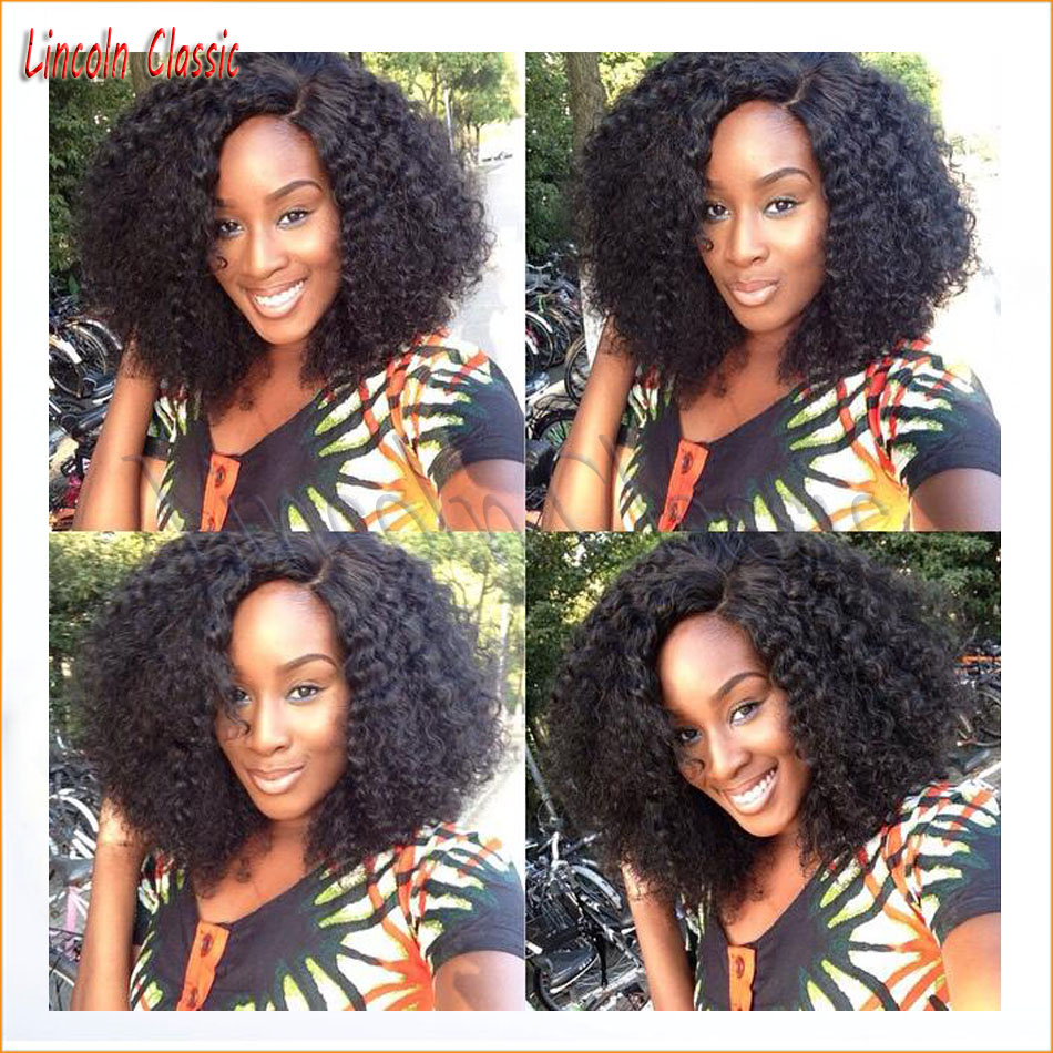 150 Density Short Afro Kinky Curly Wig Lace Front Brazilian Virgin Human font b Hair b