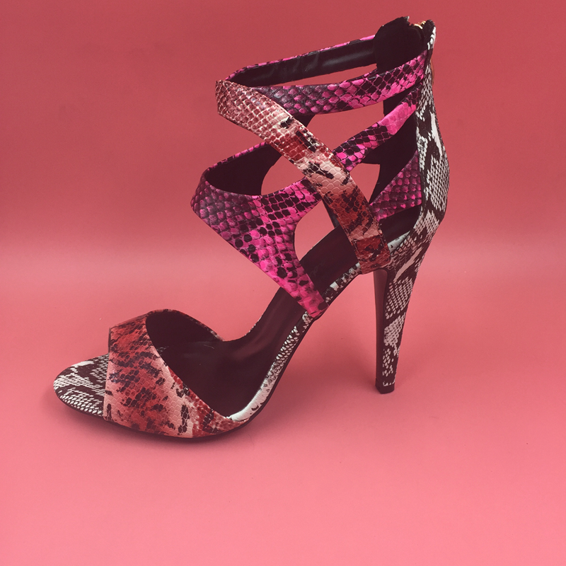 Snakeskin Real Image Sandalias Mujer 2016 Custom Made Zipper Spike Heels Womens Sandals Summer Style Designer