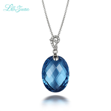 I&zuan S925 Silver topaz pendant Necklace For Woman Trendy Natural Blue Oval Gemstones Fine Jewelry Sweater chain Gift
