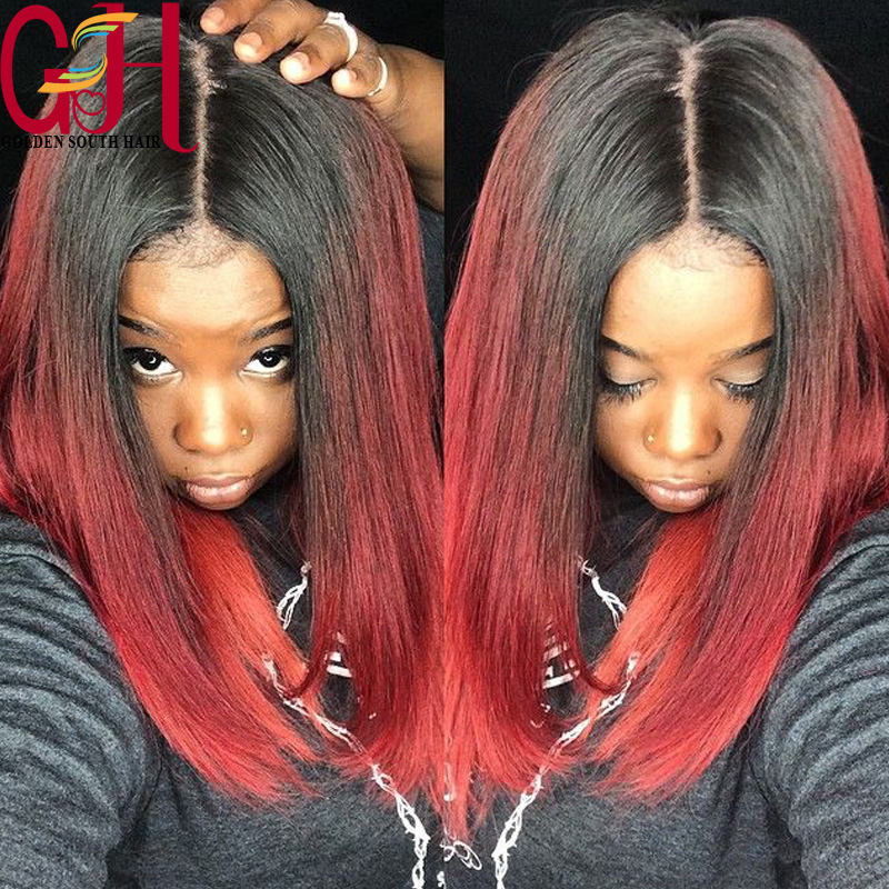 7A Remy Brazilian Human Hair Bob Lace Front Wigs/Bob Full Lace Human Hair Wigs Ombre Bob Cut Lace Wigs Glueless Short Red Wigs