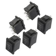 5 Pcs SPDT On/Off/On Mini Black 3 Pin Rocker Switch AC 6A/250V 10A/125V