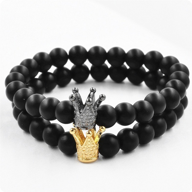 562924b70cd7 2017 nueva moda 8mm joyería Casual para hombre aleación rhinestone corona  pulseras Lava pulsera mujeres hombres